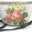 กระเป๋าสะพายผักตบชวาทรงแตงโม ลายช่อกุหลาบวินเทจ บนพื้นน้ำตาล thumbnail 2