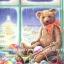 กระดาษสาพิมพ์ลาย rice paper เป็น กระดาษสา สำหรับทำงาน เดคูพาจ Decoupage แนวภาพ พี่หมี เท็ดดี้ แบร์ teddy bear สุดหล่อเป่าแตร เล่นดนตรี ในงานคริสมาสต์ปาร์ตี้ (pladao design) thumbnail 1
