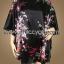 เสื้อแขนค้างคาวไปงาน ลายช่อดอกไม้ บนพื้นดำ สามารถพรางรูปร่างได้ดี ผ้าเงามันเนื้อดีใส่สบายมากๆ แบบเรียบหรู thumbnail 1