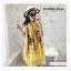 PR146 ผ้าพันคอแฟชั่น ผ้าฝ้าย พิมพ์ลายสวย สีเหลือง ขนาด ยาว 190 กว้าง 90 cm. thumbnail 8