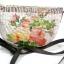 กระเป๋าสะพายผักตบชวาทรงแตงโม ลายช่อกุหลาบวินเทจ บนพื้นน้ำตาล thumbnail 1