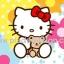 กระดาษสาพิมพ์ลาย สำหรับทำงาน เดคูพาจ Decoupage แนวภาำพ hello kitty อุ้มหมี เท็ดดี้ แบร์ มีฉากหลังเป็นดอกไม้ดอกใหญ่สีสด สวยมาก ออกโทนสีฟ้า (ปลาดาวดีไซน์) thumbnail 1