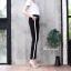 Trousers with side stripe กางเกงขายาวสีดำแต่งแถบข้างสีขาว เอวผูกเชือก ทรงสปอต สไตล์กางเกงzara ผ้าหนาเนื้อนุ่มอย่างดี ใส่สบายค่ะ thumbnail 2