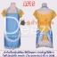 ผ้ากันเปื้อนบีนส์เทียม สีฟ้าใสจุดขาว ประดับลูกไม้