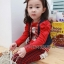 Huanzhu kids ชุดแฟชั่นเด็ก 2 ชิ้น เสื้อสีแดง ลายแมว+ กางเกงลายสก็อต น่ารักสไตล์เกาหลี thumbnail 3