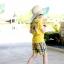 เสื้อยืด คอกลม สีเหลือง แขนสั้น มีลายอามด้านหลัง น่ารัก สไตล์เกาหลีค่ะ thumbnail 2