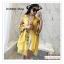 PR146 ผ้าพันคอแฟชั่น ผ้าฝ้าย พิมพ์ลายสวย สีเหลือง ขนาด ยาว 190 กว้าง 90 cm. thumbnail 1