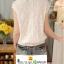 เสื้อลูกไม้แขนสั้นสีขาวลายดอกไม้เอวจั๊มซิปหลัง เนื้อผ้าบางเบาใส่สบายค่ะ thumbnail 3
