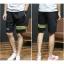 SP0038 กางเกงขาสั้นแฟชั่นเกาหลี สีดำ คาดเขียว thumbnail 3