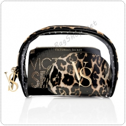 &#x2764️ Victoria's Secret Leopard Cosmetic Trio Bag