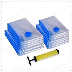 เซ็ทถุงสูญญากาศ 6 ใบ (รวมทุกไซส์ 6 ขนาด) + ที่สูบลม ช่วยเพิ่มพื้นที่ของกระเป๋าเดินทางได้มากถึง 75%