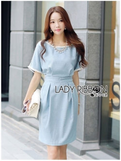 Lady Ribbon เดรสผ้าคอตตอนสีฟ้า
