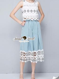 Seoul Secret ชุดเซทเสื้อกางเกงแต่งลูกไม้