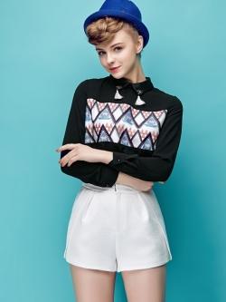 เสื้อเบลาส์ Lapel Hedging Elegant Decored