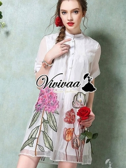 Vivivaa Tropical Embroider Dress