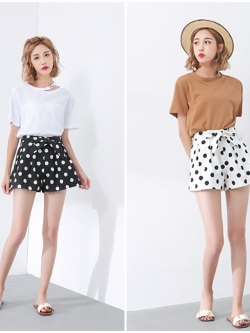 กางเกง Polka Dot with Bow Belt