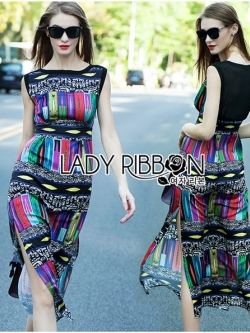 Lady Ribbon Colorful Graphic Printed Maxi Dress