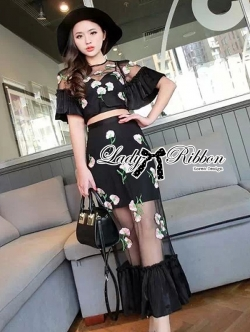 Lady Ribbon Floral Embroidered Crop Blouse and Peplum Long Skirt Set