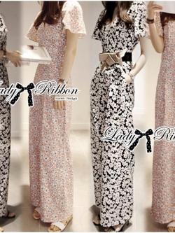 Lady Ribbon จั๊มสูทขายาว คอวี ลายดอก สีส้ม สีดำ