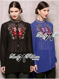 Lady Ribbon Dolce Vita Embroidered Chiffon Shirt Dress