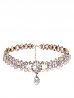 สร้อยโชคเกอ Water Drop Crystal Beads & Simulated Pearl