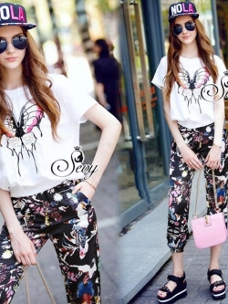 Sevy Butterfly Blouse With Elastic Waist Pants Sets