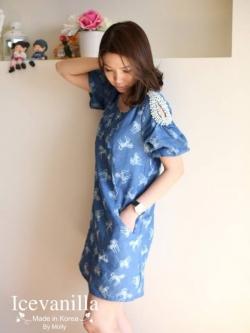 Icevanilla Unicorn Chic Denim Stitch Pearl Dress