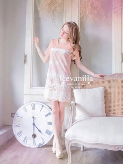 Icevanilla Pastel Sweet Stitching Embroidery Lace Dress