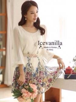 Icevanilla Luxury Chiffon Printed Dress with Belt