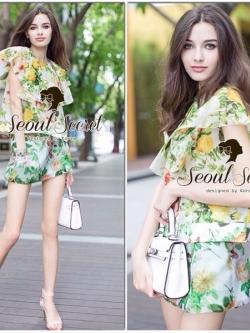 Seoul Secret Set Vintage Organza Blouse with Skirt