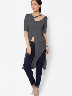 เสื้อเบลาส์ Glittery Neckline Cutwork ( สีเทาเข้ม )