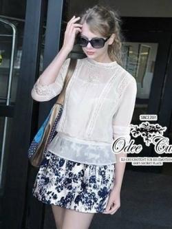 Odee Cutie ชุดเซ็ทเสื้อชีฟอง กระโปรงสั้นสไตล์ Zara