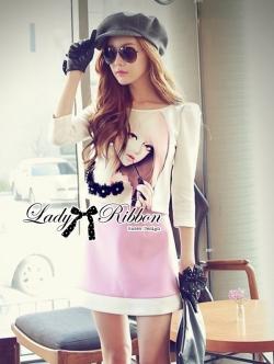 Lady Ribbon Sweet Little Girl Printed Embellished Pink Set