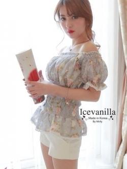 Ice Vanilla เสื้อลูกไม้สีหวาน เปิดไหล่ สม็อกเอวพร้อมโบว์ผูกด้านหลัง