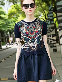 Seoul Secret Louis Embroider Style Dress