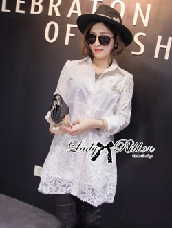 Lady Ribbon Embellished Insert Lace Shirt