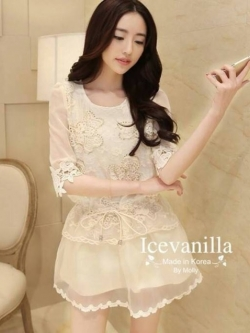Icevanilla Lace Sleeve Butterfly Dress