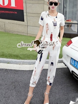 Seoul Secret Women Printed Chic Set