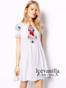 Icevanilla Embroidered White Dress