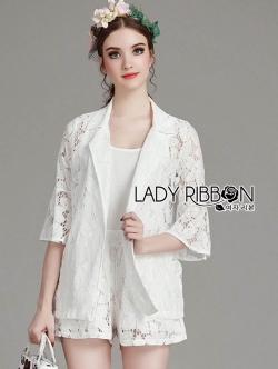 Lady Ribbon เซทเสื้อสูทและกางเกงผ้าลูกไม้