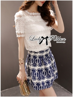 Lady Ribbon Lace Top and Printed Skirt Set
