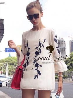 Seoul Secret Vintage Leaf Embroider Blouse