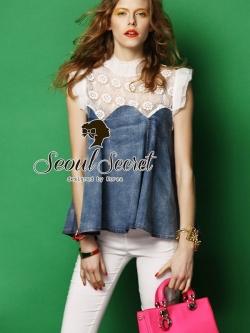 Seoul Secret Softly Denim Lace Blouse