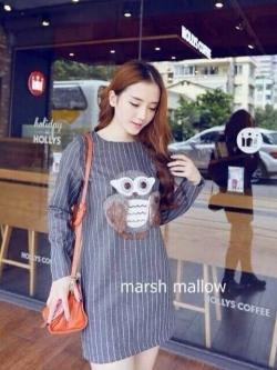 Marsh mallow เดรสเกาหลี ลายนกฮูก 3 มิติ