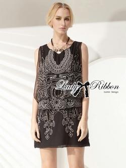 Lady Ribbon เดรสผ้าชีฟองปักลาย สีดำ