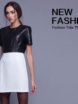 ชุดเดรส Leather Like Stitching
