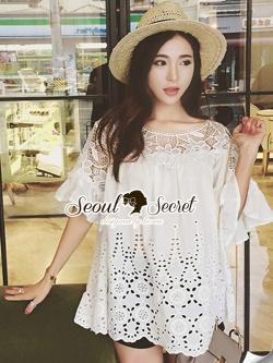 Seoul Secret Bell Sleeve Ivory Lace Net Tops on Long Blouse