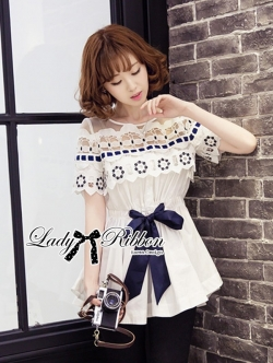 Lady Ribbon Sleeveless Flower Embroidered Cotton Top
