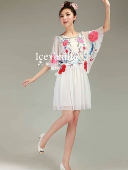 Icevanilla Sweet Floral Embroidery Dress