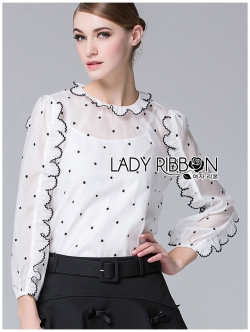 Lady Ribbon เสื้อลายจุดประดับระบาย